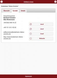 childrens' home - Kontakt - Tablet